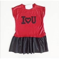 - Kız Çocuk I Love You Elbise Kırmızı -9750 1