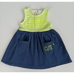 - Kız Çocuk Askılı Neon Yeşil Cute Elbise 3002-002 1