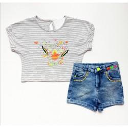 - Kız Çocuk Kot Şort Tişört Takım TK 799 1