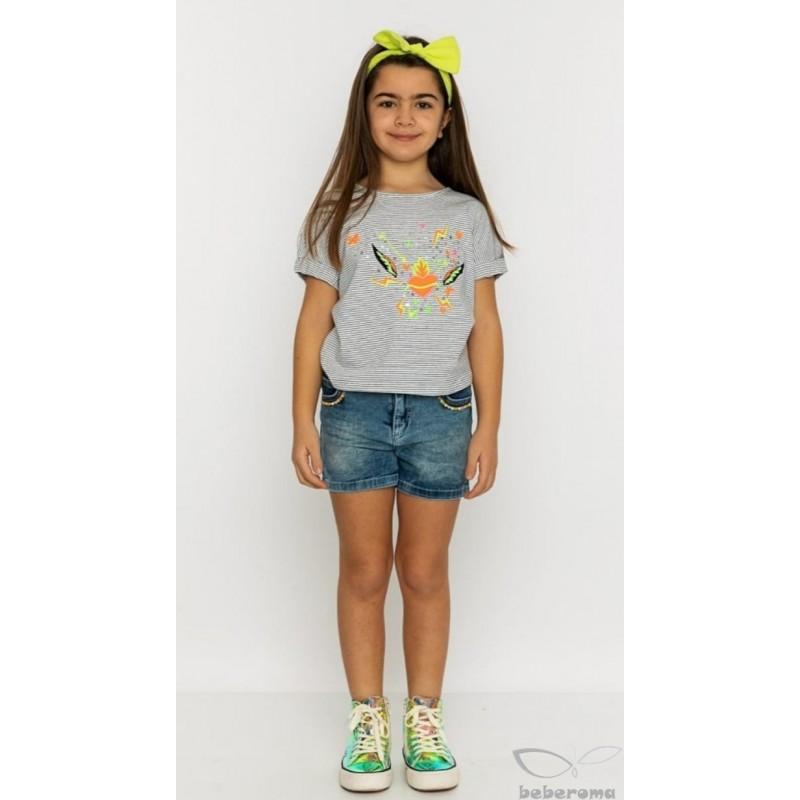 - Kız Çocuk Kot Şort Tişört Takım TK 799 3