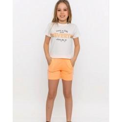 - Kız Çocuk Oranj Şort Takım  3000-113 2