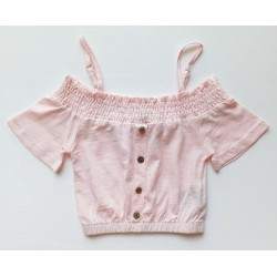 - Kız Çocuk Düşük Kol Askılı Bluz Pudra 0807 1