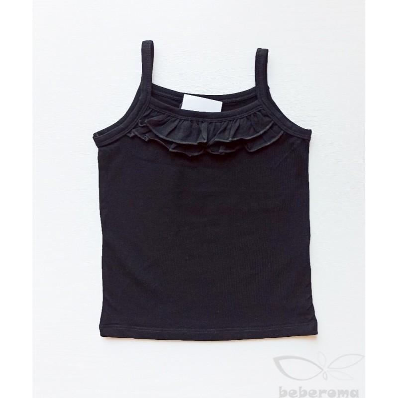 - Kız Çocuk Askılı Tişört -Siyah 0114 1