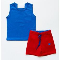 - Erkek Çocuk Şort Tişört Takım Mavi 0736 1